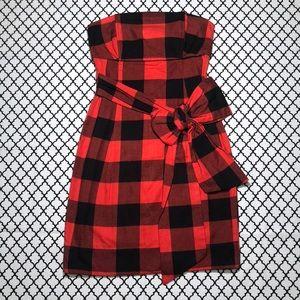 H&M Red & Black Plaid Strapless